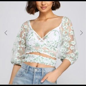 Embroidered crop top